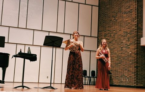 Miranda Johnson, a horn player, and Lily Freeman, a trumpeter, performed individual solos and a duet for the public with piano accompaniment Sunday, Sept. 26 at 3p.m. at Light Recital Hall.
