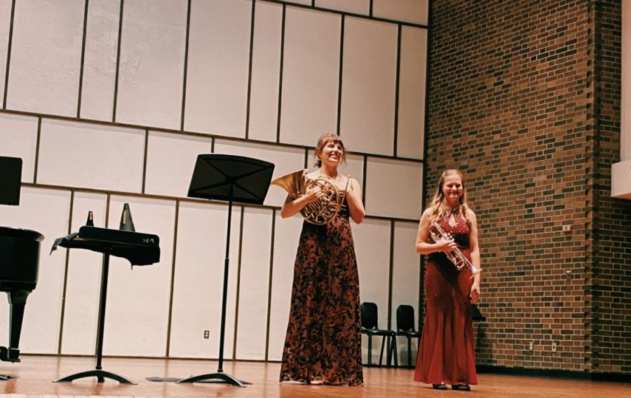 Miranda+Johnson%2C+a+horn+player%2C+and+Lily+Freeman%2C+a+trumpeter%2C+performed+individual+solos+and+a+duet+for+the+public+with+piano+accompaniment+Sunday%2C+Sept.+26+at+3p.m.+at+Light+Recital+Hall.+