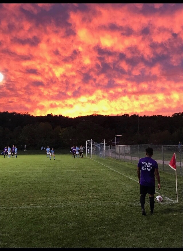 Defender Andres Villerral practices with his fellow Warhawks on a warm September evening.