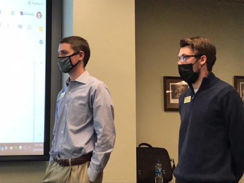 Segregated University Fee Allocation Committee (SUFAC) chair Matt Schweinert (left) and vice chair Collin Chapman explain the application process for funding to attendees of the SUF 411 training held Thursday, Sept. 23 and Friday, Sept. 24 in the University Center.