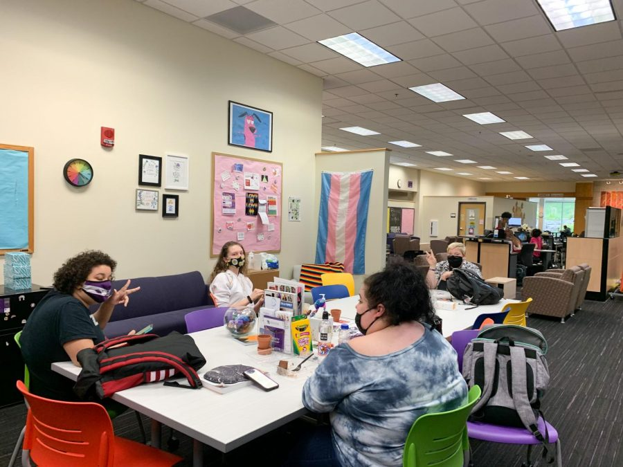 Students spend time in the PB Poorman Pride Center in between classes.