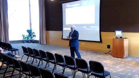 Interim Chancellor Jim Henderson explain the budget situation to the campus Thursday, Sept. 23.