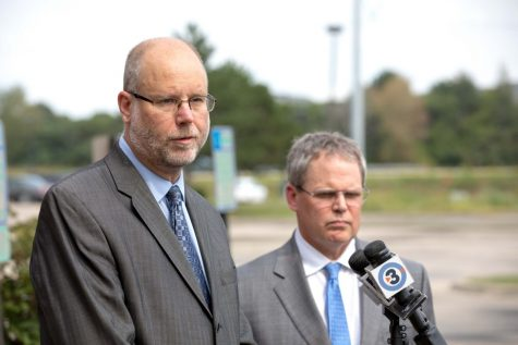 Attorneys Victor Forberger and Paul Kinne speak at a press conference announcing a class-action lawsuit challenging a Wisconsin law that bars people receiving federal disability assistance from qualifying for state unemployment benefits on Sept. 7 in Madison.