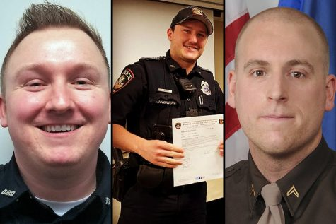 From left, Officers Riley Schmidt, Jacob Ungerer and Ben Dolnick are some of the nearly 200 law enforcement officers currently employed in Wisconsin who have been fired from previous jobs in law enforcement, resigned in lieu of termination or quit before completion of an internal investigation. (Photos courtesy of the Darlington Police Department, Middleton Police Department Facebook page and the Dane County Sheriffs Office)