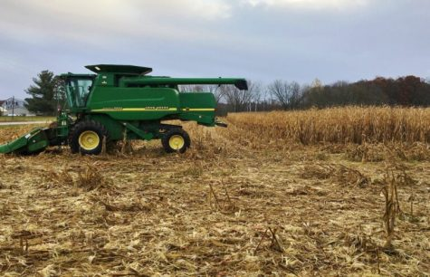 It won't take this combine long to finish picking the remaining corn in this field