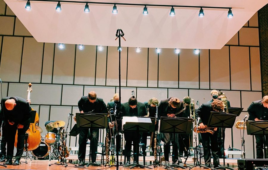 Jazz One Ensemble pictured taking a bow at the end of their concert on Oct. 14 at 7:30 p.m.