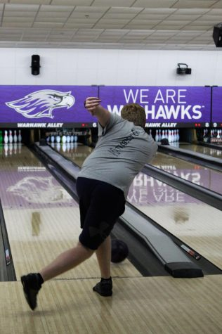 The University of Wisconsin, Whitewater bowling team is practicing on a Thursday evening, Oct 7, 2021