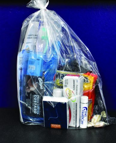 A cold care kit that you can get from the health center for getting your flu shot or if you have a cold you can get one from them.