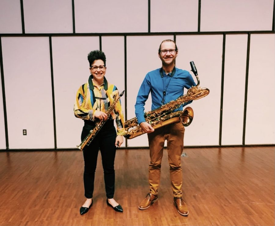 Noa+Even+and+Phil+Pierick%2C+a+saxophone+ensemble%2C+performed+for+the+public+on+Tuesday%2C+Sept.+28+at+7%3A30+p.m.+at+Light+Recital+Hall.