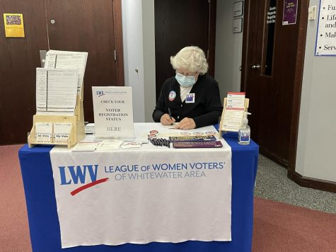 Voter services chair Julia Ross of the League of Women Voters of the Whitewater Area tables at the Irvin L. Young Public Library Tuesday, Sept. 28 to help citizens register ahead of the coming November election.