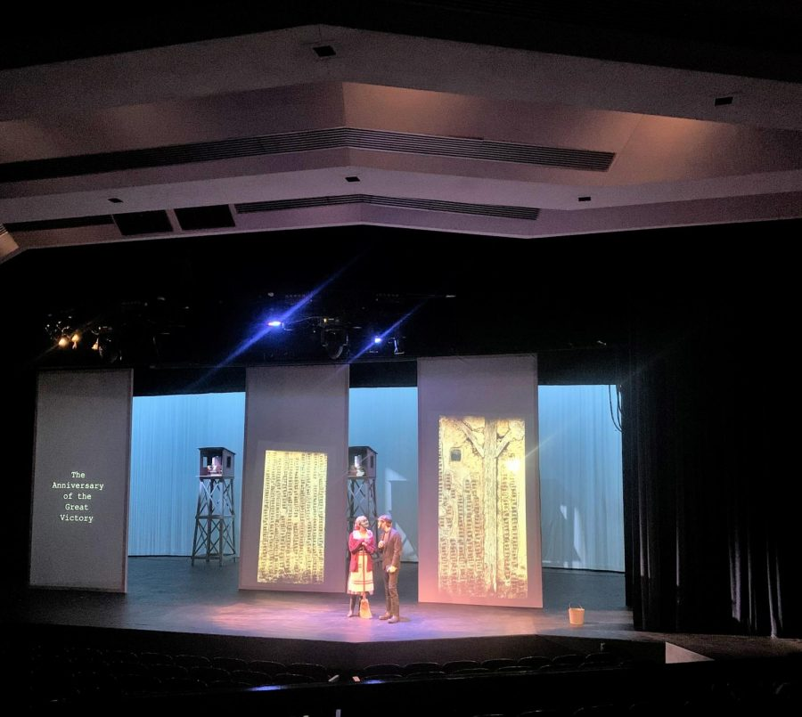 """Actors Bryce Giammo and Erin McKee in their performance of """"A Place with Pigs"""" running from Tuesday Oct 5, 2021 through Saturday Oct 9, 2021."""