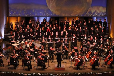 The Whitewater Symphony Orchestra, the Concert Choir, and Chamber Singers performing together at the 25th annual Gala Holiday Concert on Saturday Dec.7, 2019. -Dane Sheehan