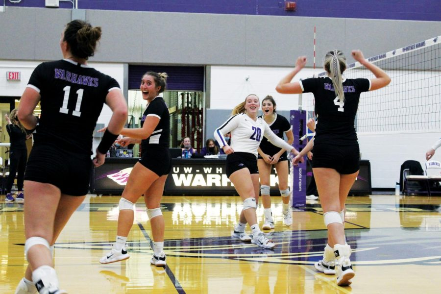 The University of Whitewater-Warhawks celebrates a hard-earned 3-1 win over the University of Dubuque during the home game on Oct. 13, 2021.