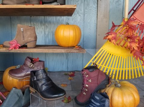 A range of new and stylish boots displayed in the window of Dale's Bootery in downtown Whitewater.