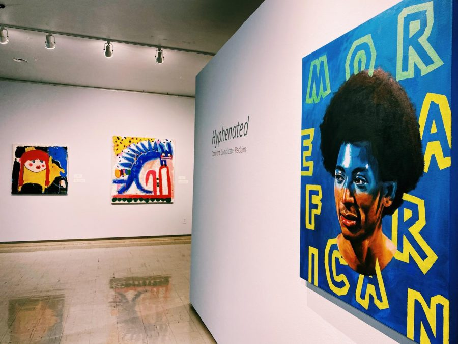 """""""More Revolutionary,"""" an eye-catching piece, by William Paul Thomas is displayed at the front of the exhibit."""
