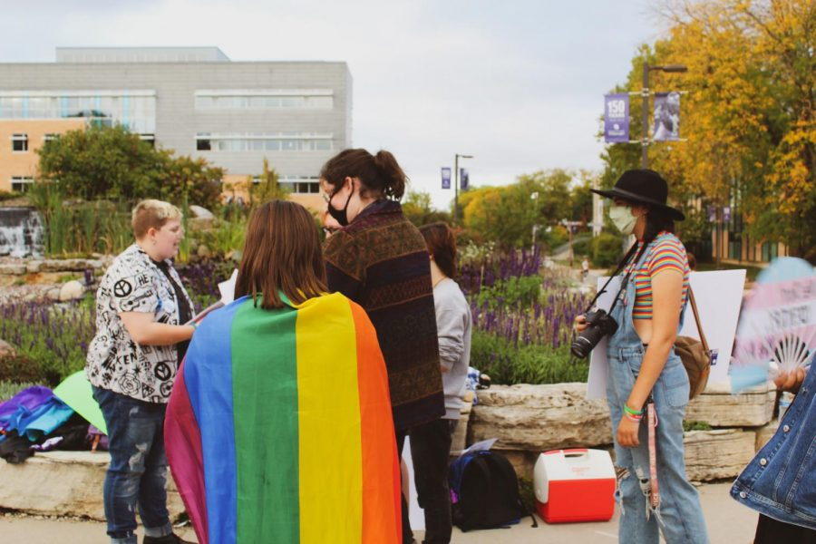Students from the PB Poorman Pride Center gather as they get ready for the protest against Matt Walsh on Monday evening, Oct 4, 2021.
