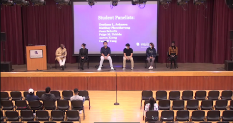 From left to right:  Associate Vice Chancellor Kenny Yarbrough, Matt Phoutavong, Aaron Xiong, Cassell Yang, Paige M. Uchida and Destiney L. Johnson speak at the student panel of the 2021 Diversity Forum Thursday, Oct. 7.